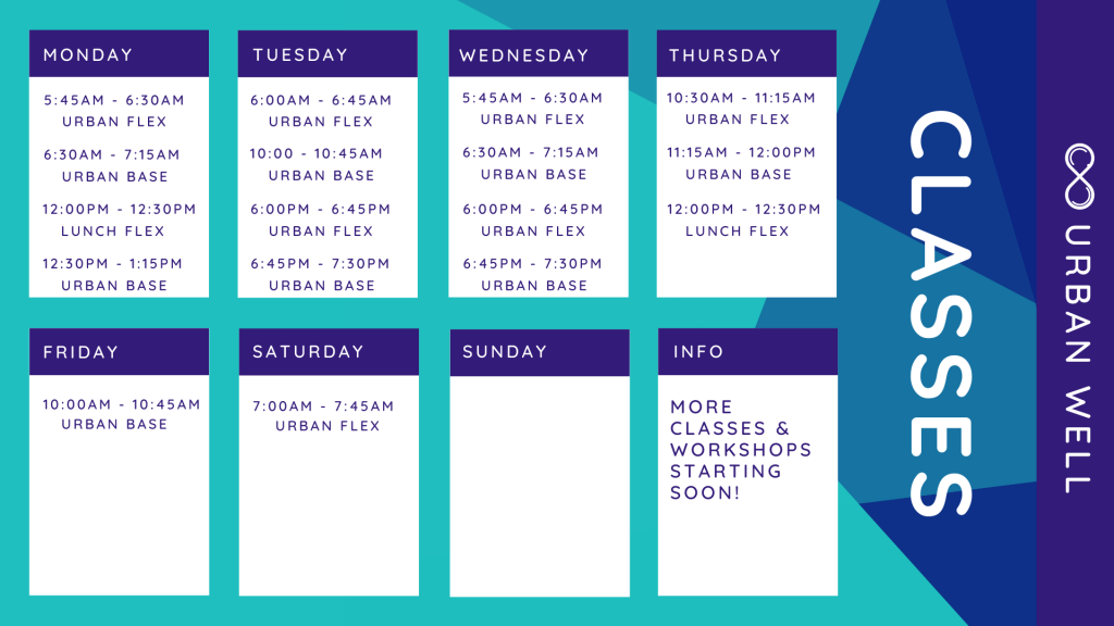 Weekly timetable of flexibility and strength classes in East Brisbane
